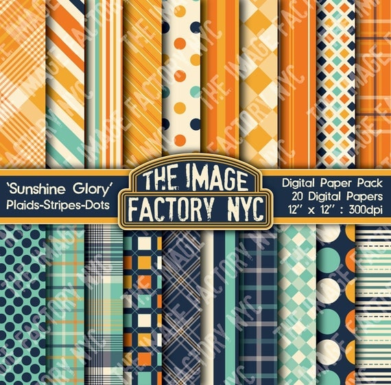 Sunshine Glory Plaids Stripes and Dots Digital Mega Paper Pack Collection (TIFNYC-PSDPP-5) for all paper crafts-Download & Print