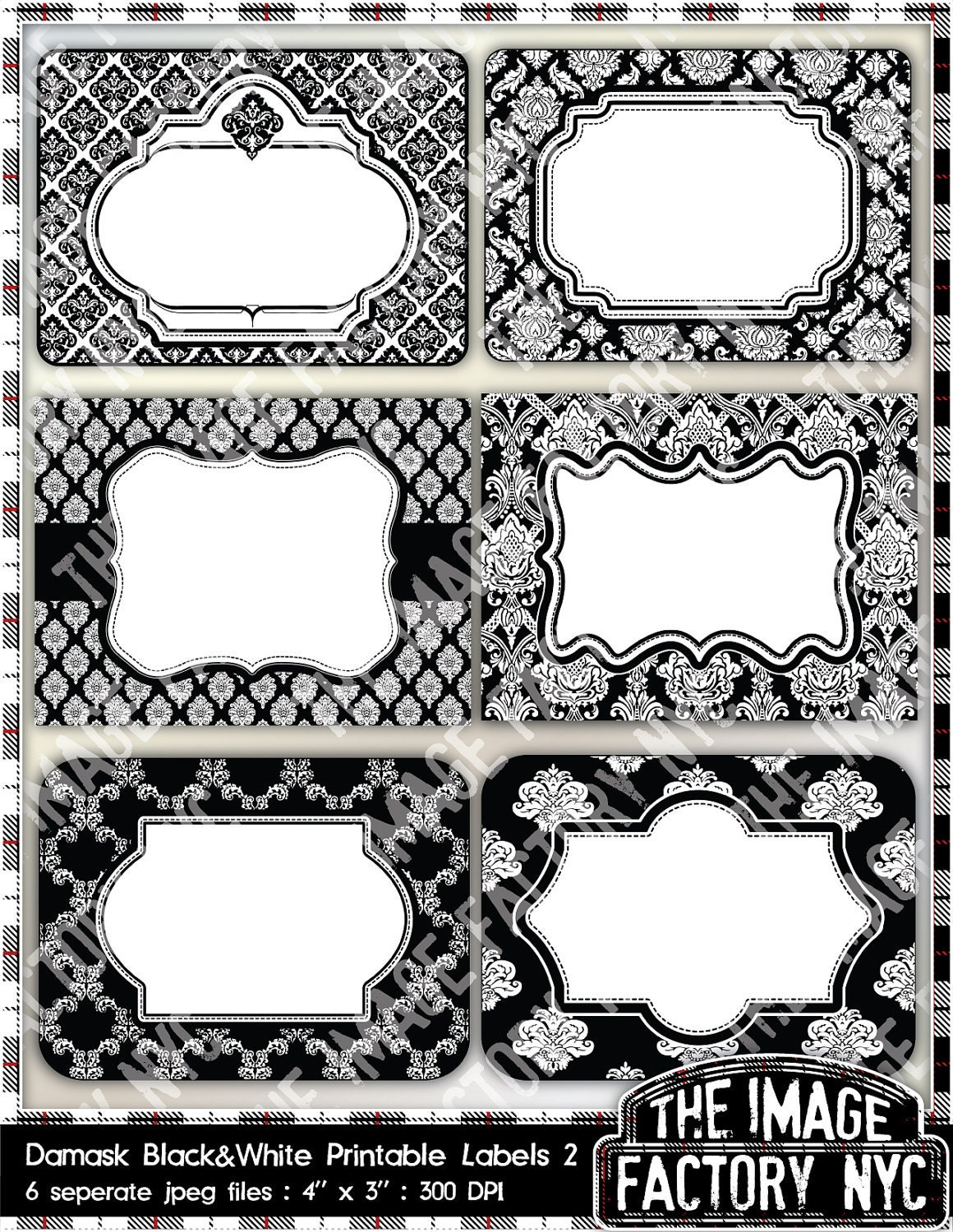 Black And White Damask Printable Labels amp By