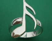Music Sixteenth Note Semiquaver Silver Charm Ring - Valentines Day, Spring Wedding, Mother Day Gift, October, November, December Trend