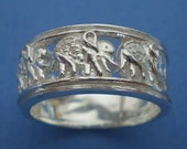 Elegant Elephant Family Love Silver Ring Band Size US 3 - 13. You name it.