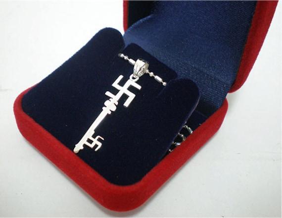 Sterling Silver Ganesh Swastika Buddha Hindu Key Charm Pendant Necklace Chain