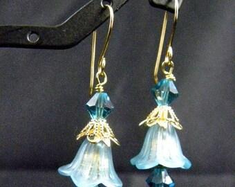 Blue Vintage Inspired Flower Earrings