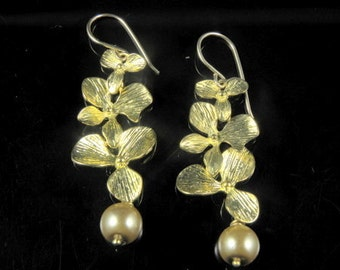Gold Orchid Cascade and Pearl Earrings