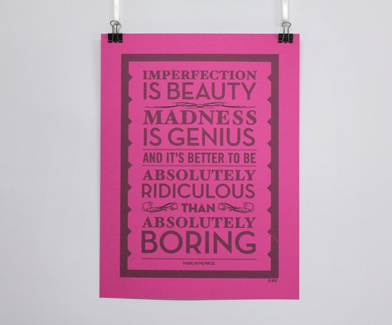Imperfection is Beauty, Marilyn Monroe quote, wall art, quote art, pen art, gift for women, typography art, madness is genius, chatty nora