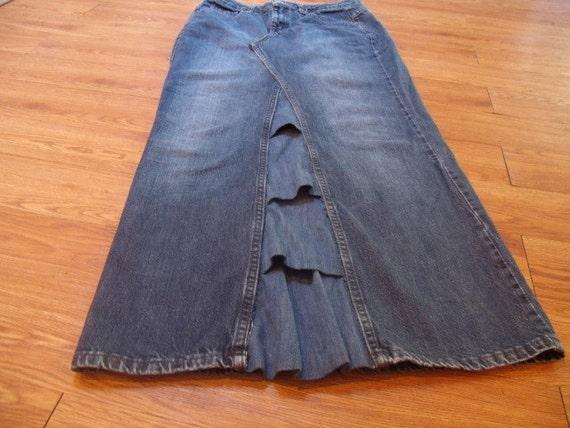 upcycled denim skirt floor length size 10p