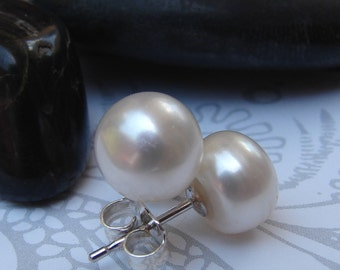 White Pearl Silver Post Earrings, Large Cultured Freshwater Pearl Sterling Stud Earrings, Bridesmaid Wedding Pearl Earrings