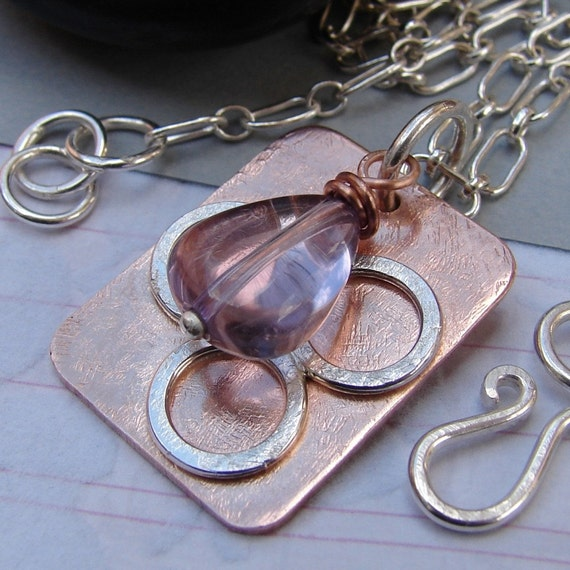 RESERVED Copper Necklace with Sterling Silver Chain, Handmade Nugget Tag Pendant Mixed Metal Necklace
