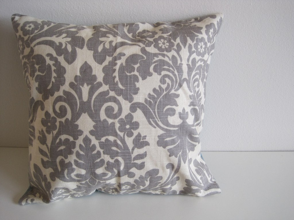 Throw Pillows Damask : Holiday Gift Decorative Pillow Damask Pillow Grey Throw