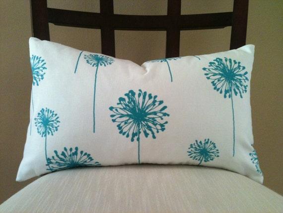 12 x 20 -True Turquoise Dandelion Lumbar  Pillow Cover - Premier Prints