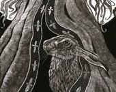 Hare Beneath her Robes Fine Art Print of original handmade crafted Scraperboard.