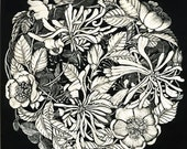 Art Greetings Card of Wild Roses and Honeysuckle