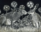 Starstruck Hares Art Greetings Card-  from original Scraperboard