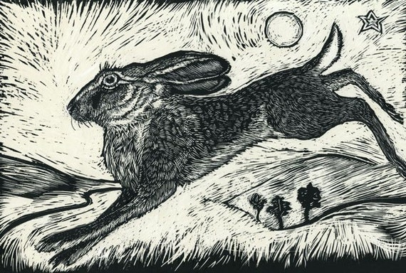 Hare on the hill, Cosmic Hare and Beneath her robes Art Cards Set 3-
