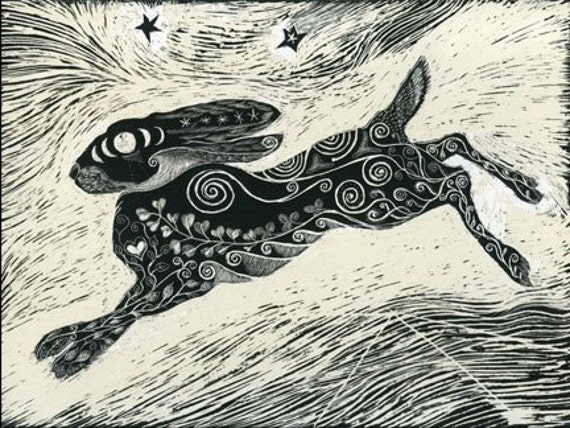 Cosmic Hare - Fine Art Print of Original Scraperboard