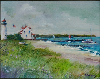 Lighthouse Landscape - Original Oil Painting