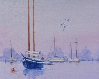 Sailboat in Harbor at Twilight - Original oil Painting