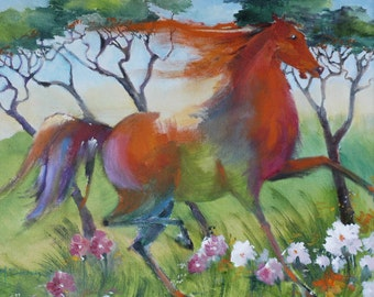 "Orange Horse Prancing in Flowers   - Original Oil Painting (20"" x 16"")"