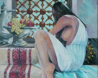 """The Mashrabiya   - Original Oil Painting (16"""" x 20"""")"""