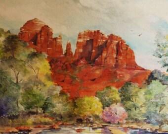 "Cathedral Rock, Sedona. Arizona  - Original Oil Painting (16"" x  20"")"