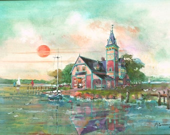 """Victorian Boathouse on the Bay - Original Oil Painting 18 x 24"""""""