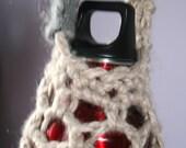 Blue Cream Grey Crochet Festival Hippie Boho Water Bottle Sack Bag Case Holder