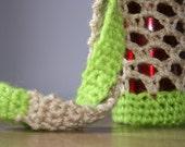 Cream & Neon Green Crochet Festival Hippie Boho Water Bottle Sack Bag Case Holder