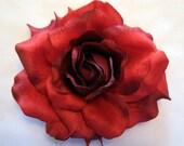 Large Scarlet  Red Georgia Rose Silk Flower Hair Clip