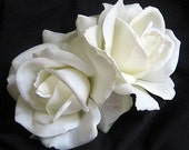 Natural White Rose Bridal Hair Clips TRUE TOUCH Realistic Set of 2, BESTSELLER