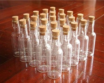 "Lot 25 16ml Clear Glass Mini Bottles 2.75"" Vials with Corks Miniature"