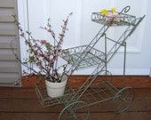 """REDUCED - Vintage Flower Cart - Flower Stand on Wheels - 25"""" tall - light green painted metal - Cottage chic"""