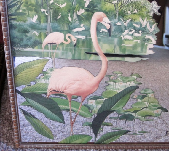 Vintage 40s 50s Pink Flamingo Mirror Amp Wall Hanging 20