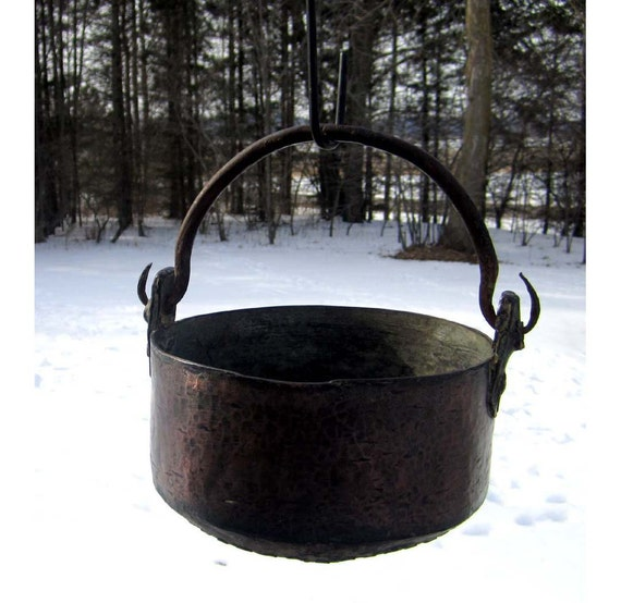 Antique Forged Copper Kettle Cauldron - Dovetailed Brass Bottom - Cast Iron Handle