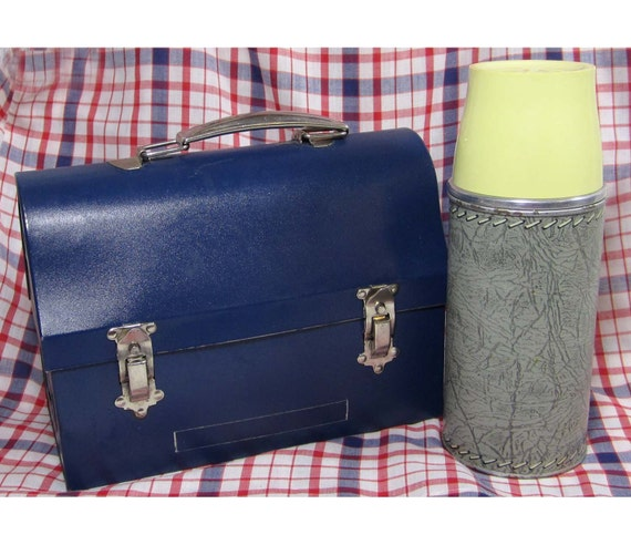 """Vintage Thermos Brand 9"""" Metal Lunchbox & Thermos - Industrial - Blue Metal - VGC"""