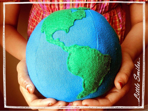 SALE - Planet Earth - Plush Globe Toy, Photo Prop, Educational, Eco-Friendly