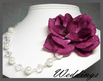 RED WINE FLOWER Necklace