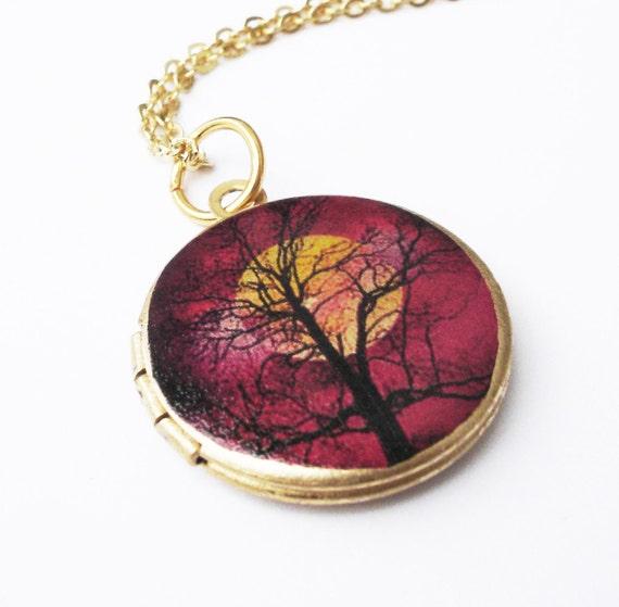 Vintage Chain Autumn Fall Tree Moon Brass Locket