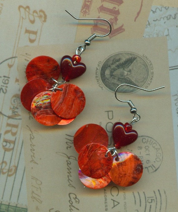 SeXy Red Heart pierced dangle earrings - Hearts a flutter