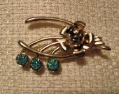 Vintage Gold and Rhinestone Wishbone Brooch