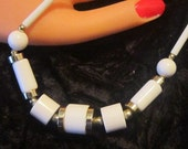Vintage White Bead and Gold Necklace