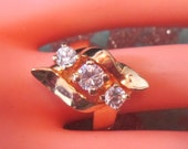 Vintage Gold and Rhinestone Ring - Size 6.25 - R-124