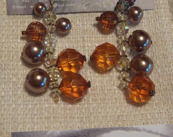 Topaz Acrylic-Vintage Pearl Dangle Earrings