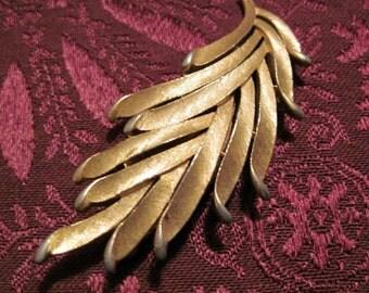 Vintage Brushed Gold Leaf Brooch