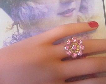Vintage Pink Rhinestone Flower Ring - Size Adjustable - R-099