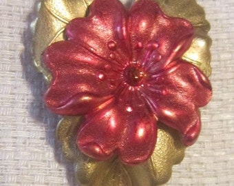 Vintage Heart and Flower Brooch