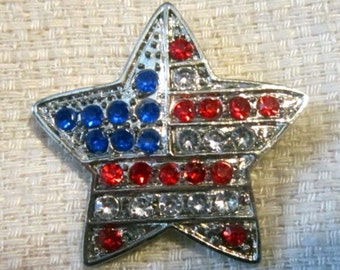 Vintage Star Shape American Flag With Rhinestones