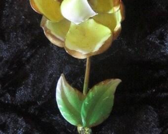 Large Vintage Yellow Enamel Flower Brooch - Yellow Enamel Brooch