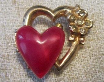 Vintage Double Heart Brooch