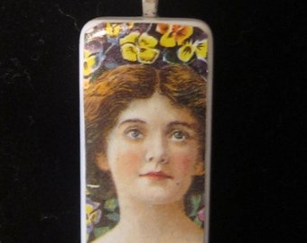 Vintage Paper Decoupage Domino Pendant on Voile Ribbon