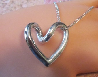Vintage Silver Heart Pendant and Chain