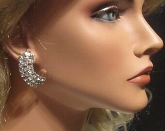 Vintage Half Moon Rhinestone Earrings